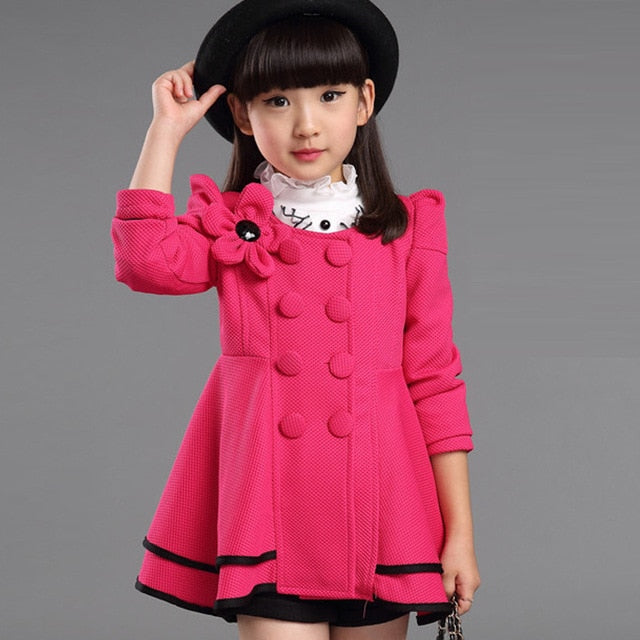 Baby Girls Jacket 2018 Autumn Winter Jackets For Girls Wool Coat Kids Warm Outerwear Coats For Girls Clothes Children Jacket-hipnfly-Rose-3T-hipnfly