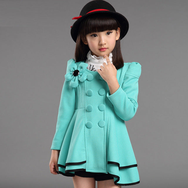 Baby Girls Jacket 2018 Autumn Winter Jackets For Girls Wool Coat Kids Warm Outerwear Coats For Girls Clothes Children Jacket-hipnfly-Green-3T-hipnfly