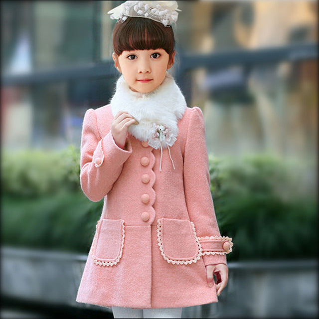 Baby Girls Jacket 2018 Autumn Winter Jackets For Girls Wool Coat Kids Warm Outerwear Coats For Girls Clothes Children Jacket-hipnfly-Pink-3T-hipnfly