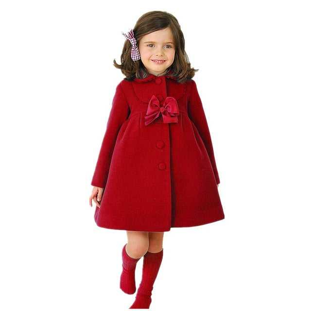 Baby Girls Jacket 2018 Autumn Winter Jackets For Girls Wool Coat Kids Warm Outerwear Coats For Girls Clothes Children Jacket-hipnfly-Red 1-8-hipnfly
