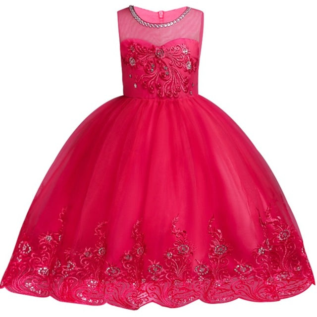 Baby Embroidered Formal Princess Dress for Girl Elegant Birthday Party Dress Girl Dress Baby Girl Christmas Clothes 2-14 Years-hipnfly-hipnfly