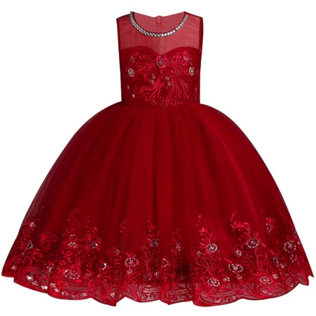 Baby Embroidered Formal Princess Dress for Girl Elegant Birthday Party Dress Girl Dress Baby Girl Christmas Clothes 2-14 Years-hipnfly-as picture 1-3T-hipnfly
