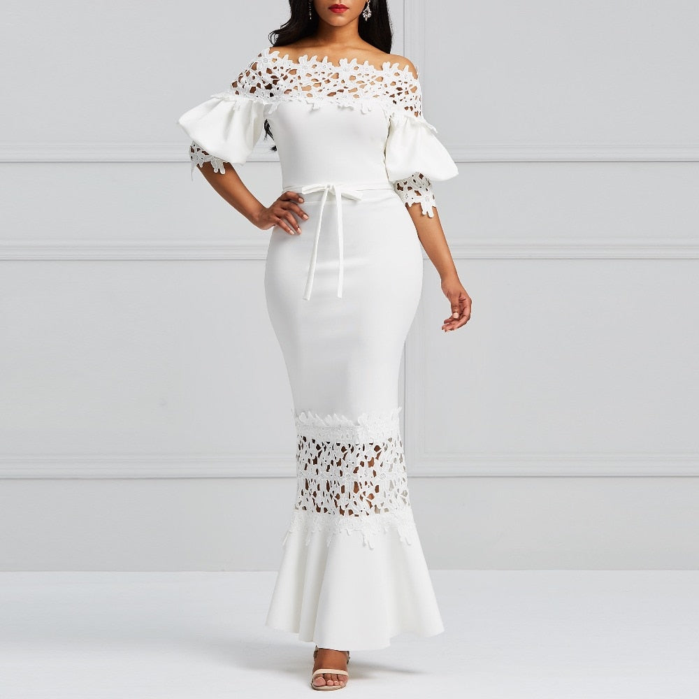 Clocolor Elegant Long Dress Women White Lace Slash Neck Mermaid Dresses Sexy Hollow Lace-Up Bodycon Party Maxi Dresses Vestidos-hipnfly-hipnfly