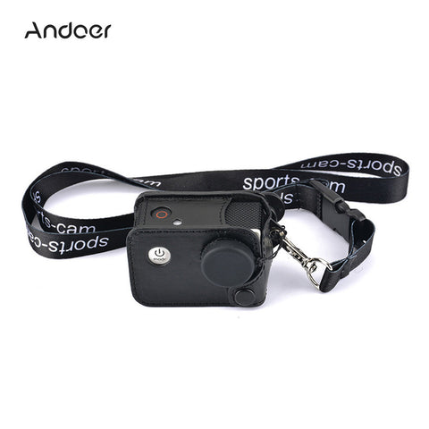 Andoer Multifunctional Clip-on Sports Camera Protective Carrying Hanging Case Bag with Neck Lanyard Lens Cap for SJCAM SJ4000 SJ5000 or the Same Size Action Cam