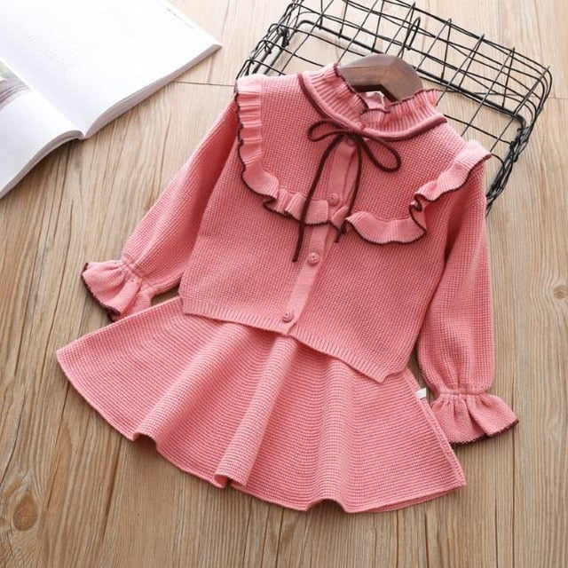 baby Autumn Winter girls Clothing set Kids cotton 2 pcs Cloths Children outfits Shirt + skirt Sweater suit for girls knitted 3T-hipnfly-pink color-12M-hipnfly