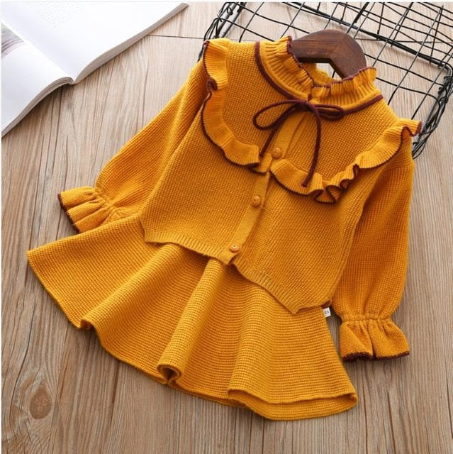 baby Autumn Winter girls Clothing set Kids cotton 2 pcs Cloths Children outfits Shirt + skirt Sweater suit for girls knitted 3T-hipnfly-yellow-12M-hipnfly