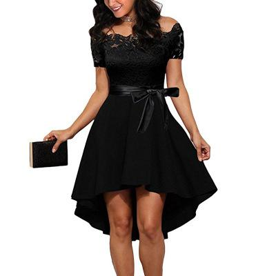 Elegant Red Lace dress Women Patchwork Slash Neck Short Sleeve Sashes Tunic Dress 2018 Summer Ladies Sexy Evening Party Dresses-hipnfly-Black-L-hipnfly