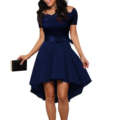 Elegant Red Lace dress Women Patchwork Slash Neck Short Sleeve Sashes Tunic Dress 2018 Summer Ladies Sexy Evening Party Dresses-hipnfly-Navy Blue-L-hipnfly