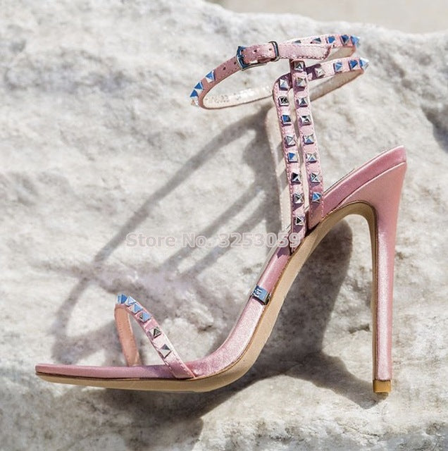 ALMUDENA Newest Stiletto Heel Metallic Studs Couture Sandals Blue Rose Muliti-Color Suede Studded Patchwork Strappy Dress Shoes-hipnfly-pink satin as pictur-35-hipnfly