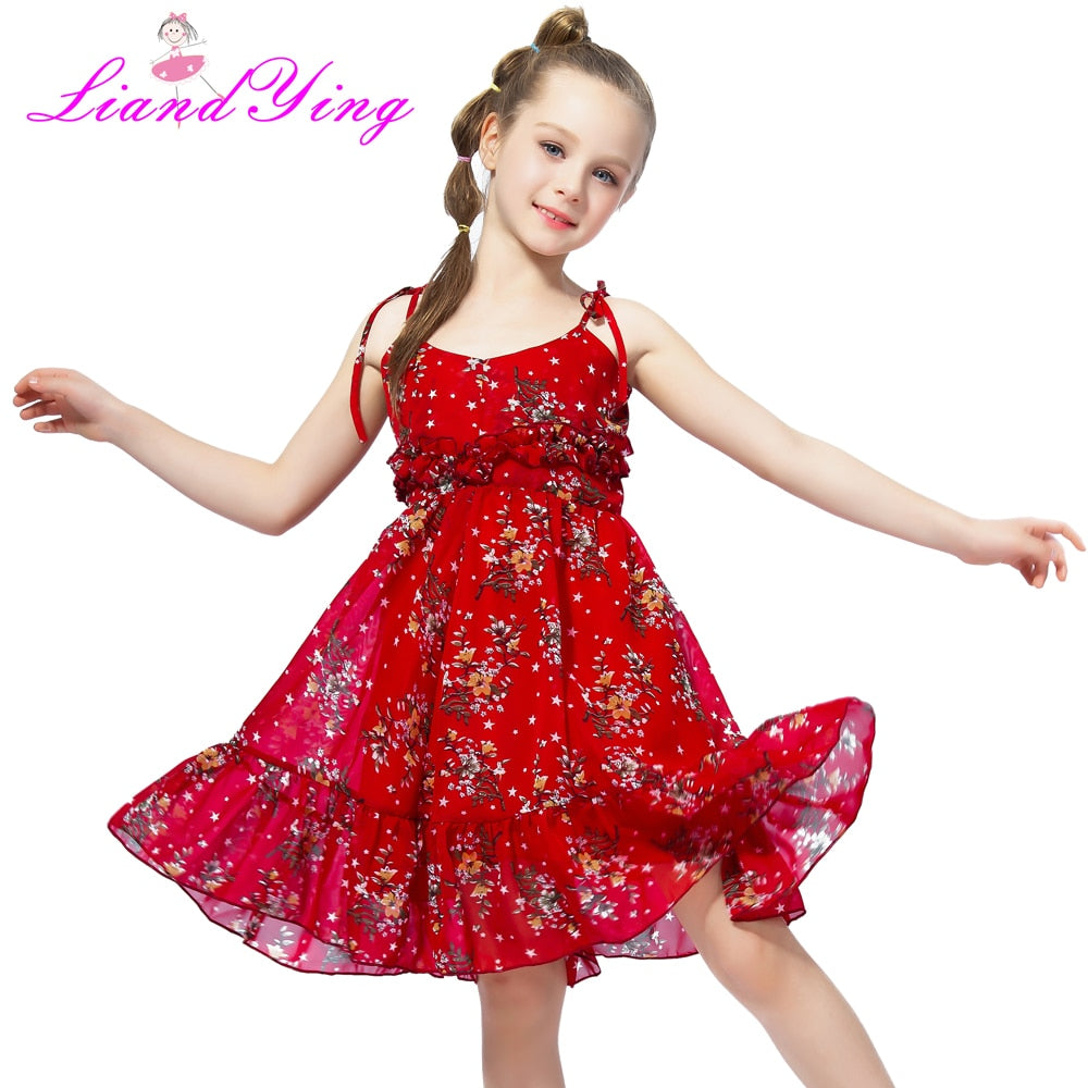 Cute Girl Summer Fluffy Red Floral Dress Toddler Child Kids Baby Girl Dress Sleeveless Sling Tutu Dress Colorful Sundress 1-12Y-hipnfly-hipnfly