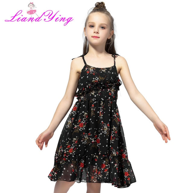 Cute Girl Summer Fluffy Red Floral Dress Toddler Child Kids Baby Girl Dress Sleeveless Sling Tutu Dress Colorful Sundress 1-12Y-hipnfly-As photo-3T-hipnfly