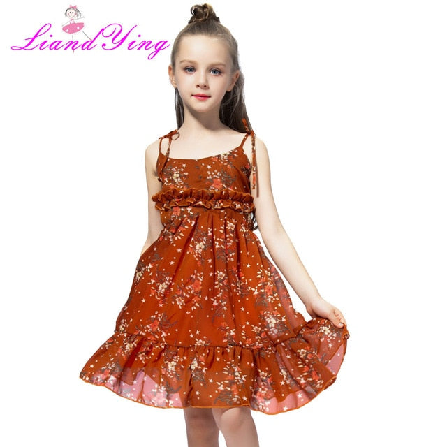 Cute Girl Summer Fluffy Red Floral Dress Toddler Child Kids Baby Girl Dress Sleeveless Sling Tutu Dress Colorful Sundress 1-12Y-hipnfly-As photo 2-3T-hipnfly