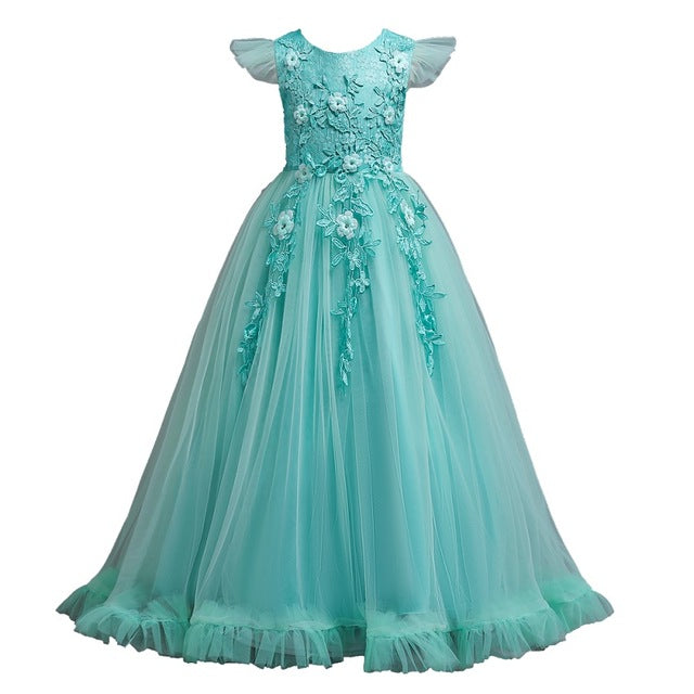 4-14Y Lace Teenagers Kids Girls Wedding Long Dress elegant Princess Party Pageant Christmas Formal Sleeveless Dress Clothes-hipnfly-as picture 4-4T-hipnfly