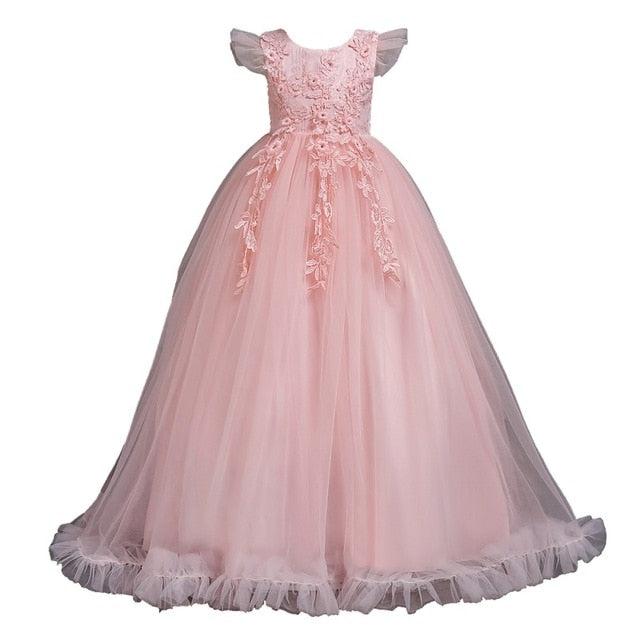 4-14Y Lace Teenagers Kids Girls Wedding Long Dress elegant Princess Party Pageant Christmas Formal Sleeveless Dress Clothes-hipnfly-as picture 5-4T-hipnfly