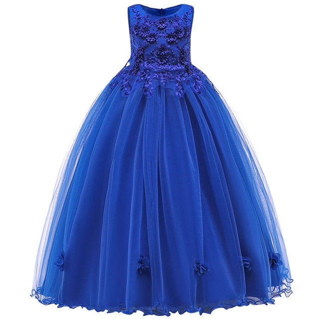 4-14Y Lace Teenagers Kids Girls Wedding Long Dress elegant Princess Party Pageant Christmas Formal Sleeveless Dress Clothes-hipnfly-as picture 13-4T-hipnfly