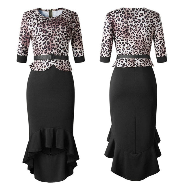 GuyuEra New African dress for women's hot sale 2018 Leopard stitching fishtail dress with belt L-XXL