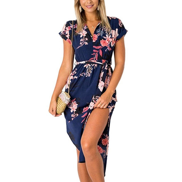 Women Floral Print Beach Dress Fashion Boho Summer Dresses Ladies Vintage Bandage Bodycon Party Dress Vestidos Plus Size S-3XL-hipnfly-Blue-S-hipnfly