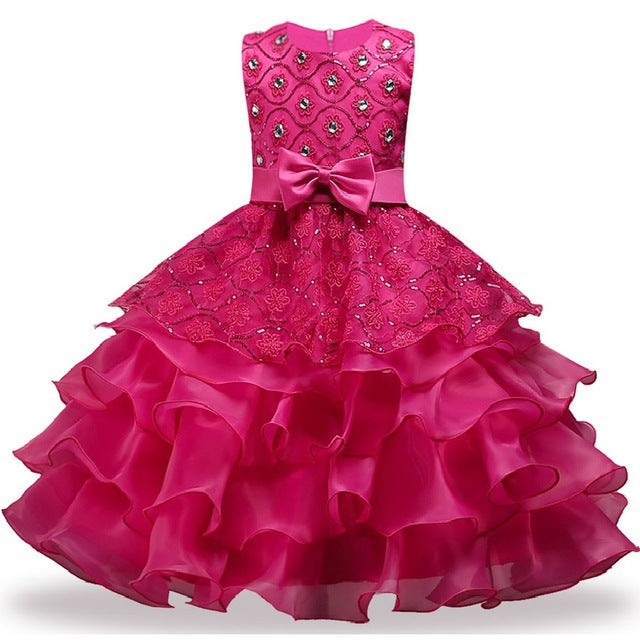 Summer Christmas Girl Dress Upscale 3-14 yrs princess Dresses girls Wedding Sequins Embroidered Formal Girl Birthday Party Dress-hipnfly-as picture 9-3T-hipnfly