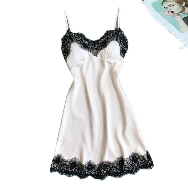Women Sexy Lace Lingerie Nightwear Underwear Robe Babydoll Sleepwear Dress lingerie sexy hot erotic plus size costumes S*65-hipnfly-White-S-hipnfly
