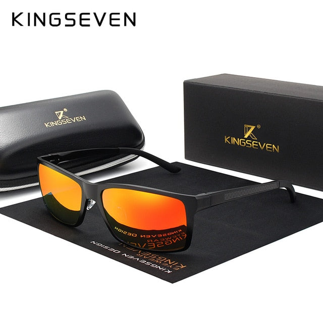 KINGSEVEN Brand Design Fashion Aluminum Magnesium Sunglasses Men Polarized Driving Eyewear For Men UV400 Oculos N7021-hipnfly-Red black-hipnfly