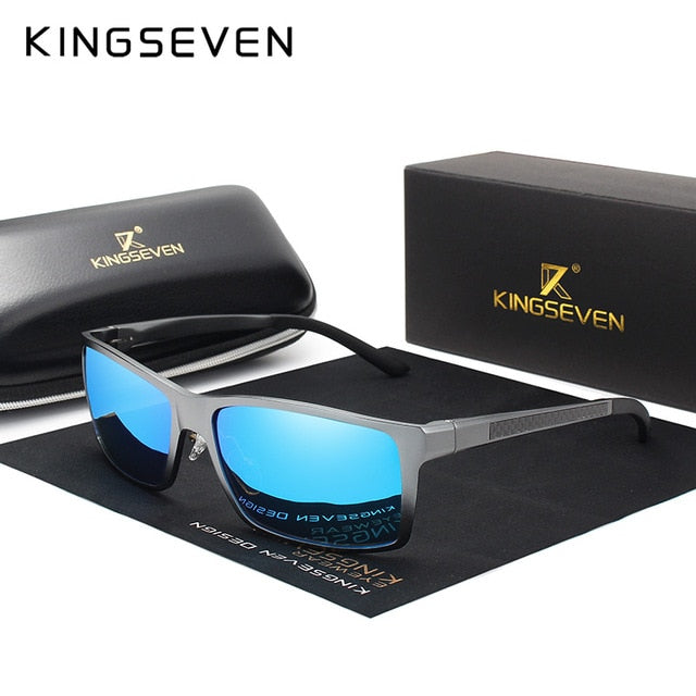 KINGSEVEN Brand Design Fashion Aluminum Magnesium Sunglasses Men Polarized Driving Eyewear For Men UV400 Oculos N7021-hipnfly-Gun blue-hipnfly