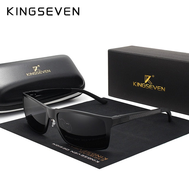 KINGSEVEN Brand Design Fashion Aluminum Magnesium Sunglasses Men Polarized Driving Eyewear For Men UV400 Oculos N7021-hipnfly-Black gray-hipnfly