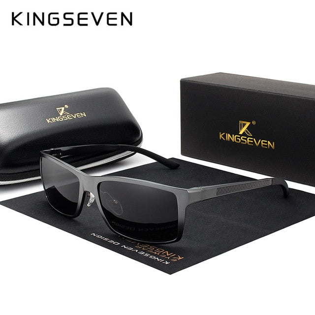 KINGSEVEN Brand Design Fashion Aluminum Magnesium Sunglasses Men Polarized Driving Eyewear For Men UV400 Oculos N7021-hipnfly-Gun gray-hipnfly