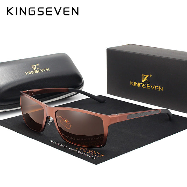 KINGSEVEN Brand Design Fashion Aluminum Magnesium Sunglasses Men Polarized Driving Eyewear For Men UV400 Oculos N7021-hipnfly-brown-hipnfly