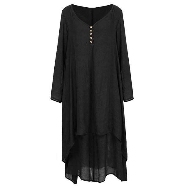 EaseHut Vintage Women Casual Loose Dress Solid Long Sleeve Boho Ethnic Autumn Long Maxi Dresses Plus Size Retro vestido mujer-hipnfly-Black-XXL-hipnfly