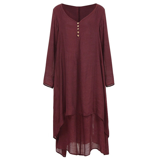 EaseHut Vintage Women Casual Loose Dress Solid Long Sleeve Boho Ethnic Autumn Long Maxi Dresses Plus Size Retro vestido mujer-hipnfly-Burgundy-XXL-hipnfly