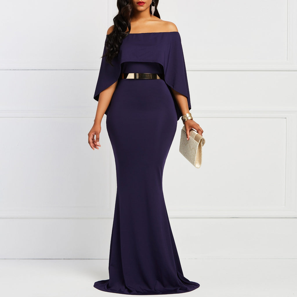 Batwing Sleeve Bodycon Slash Neck Women's Dress Navy Elegany Trumpet Evening Party Christmas Dinner Floor-length Maxi Dresses-hipnfly-hipnfly