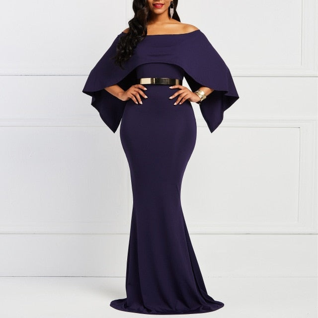 Batwing Sleeve Bodycon Slash Neck Women's Dress Navy Elegany Trumpet Evening Party Christmas Dinner Floor-length Maxi Dresses-hipnfly-Blue-S-hipnfly