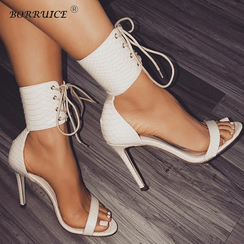 BORRUICE Fashion Spring Woman Sandals Pumps Thin Air Heels Women's Shoes Super High-heeled Open Toe Sexy Stiletto Party Pumps