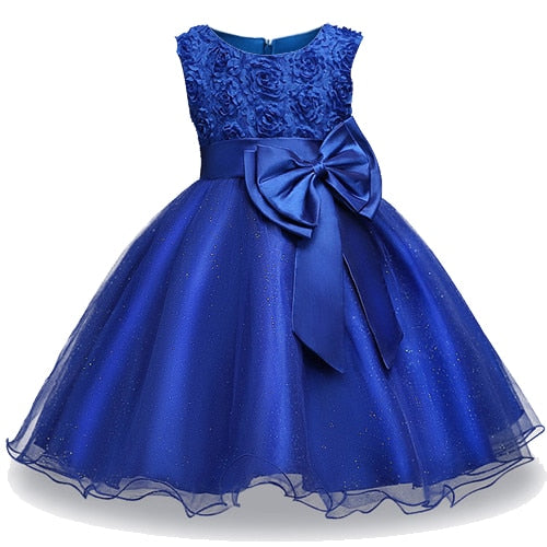 Summer Girls floral Princess party Dresses Costume Kids Girls clothes wedding birthday For Girls Dress tutu baby Girls clothing-hipnfly-dark blue-3T-hipnfly