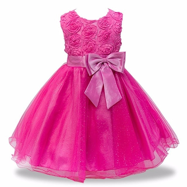 Baby Girls Party Dress 2018 Elegant Girl Evening Dress For Wedding Birthday Kids Dresses For 2 to 10 yeas Girls Clothes-hipnfly-Rose Red-2T-hipnfly