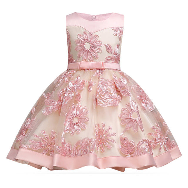 Children Girl Party Dress Wedding Christmas Evening Formal dresses Kids Sleeveless Flower Dresses for girls 3-10 years Princess-hipnfly-pink 1-3T-hipnfly