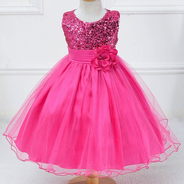 Children Girl Party Dress Wedding Christmas Evening Formal dresses Kids Sleeveless Flower Dresses for girls 3-10 years Princess-hipnfly-Rose red-3T-hipnfly