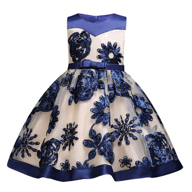 Children Girl Party Dress Wedding Christmas Evening Formal dresses Kids Sleeveless Flower Dresses for girls 3-10 years Princess-hipnfly-blue-3T-hipnfly