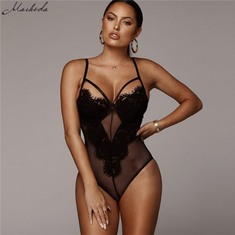 Macheda Sexy Deep V Lace Bodysuit Women Catsuit Sleeveless Solid Summer Jumpsuit Backless Leotard Bodies One Piece New-hipnfly-hipnfly