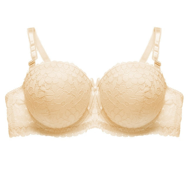 1/2 Cup Lace Bra Sexy Super Push Up Bras For Women Fashion 6 Colors Female Underwire Lingerie Floral Bralette Gather Brassiere-hipnfly-Beige-B-36-hipnfly