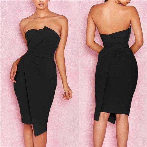 2018 Summer New Fashion Leisure Women Sexy Stylish Bodycon Dress Female Off Shoulder Striking Fold Front Asymmetric Party Dress-hipnfly-As photo shows-S-hipnfly
