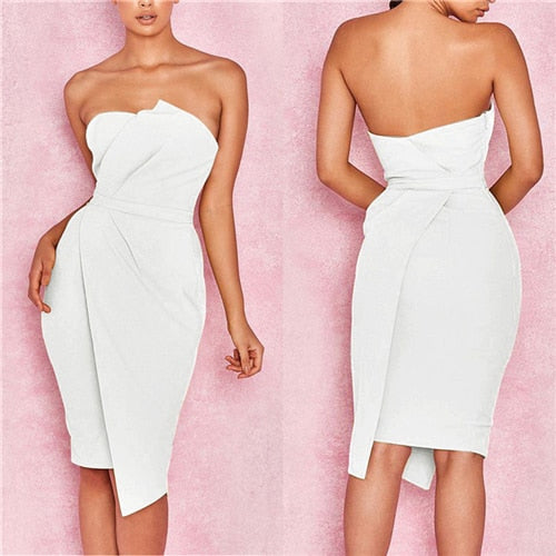 2018 Summer New Fashion Leisure Women Sexy Stylish Bodycon Dress Female Off Shoulder Striking Fold Front Asymmetric Party Dress-hipnfly-As photo shows 1-S-hipnfly