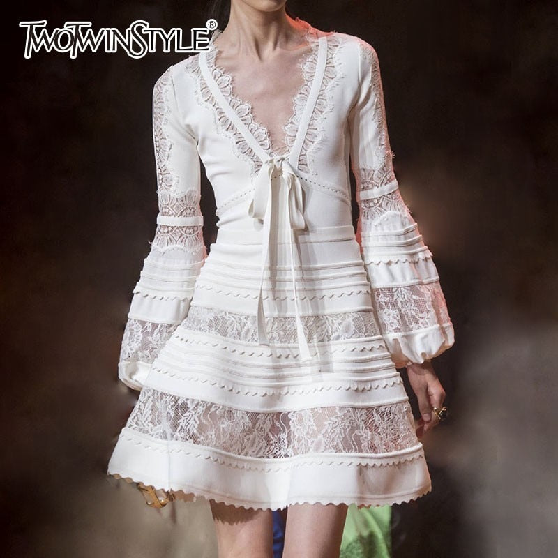 TWOTWINSTYLE Patchwork Lace Dress Women V Neck Lantern Long Sleeve Lace Up Women's Dresses Elegant Fashion 2018 Spring Autumn-hipnfly-hipnfly
