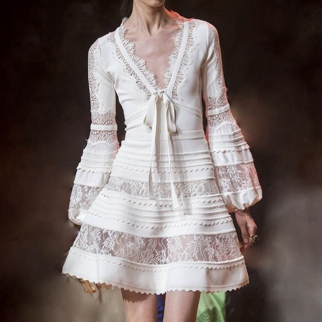 TWOTWINSTYLE Patchwork Lace Dress Women V Neck Lantern Long Sleeve Lace Up Women's Dresses Elegant Fashion 2018 Spring Autumn-hipnfly-white-L-hipnfly