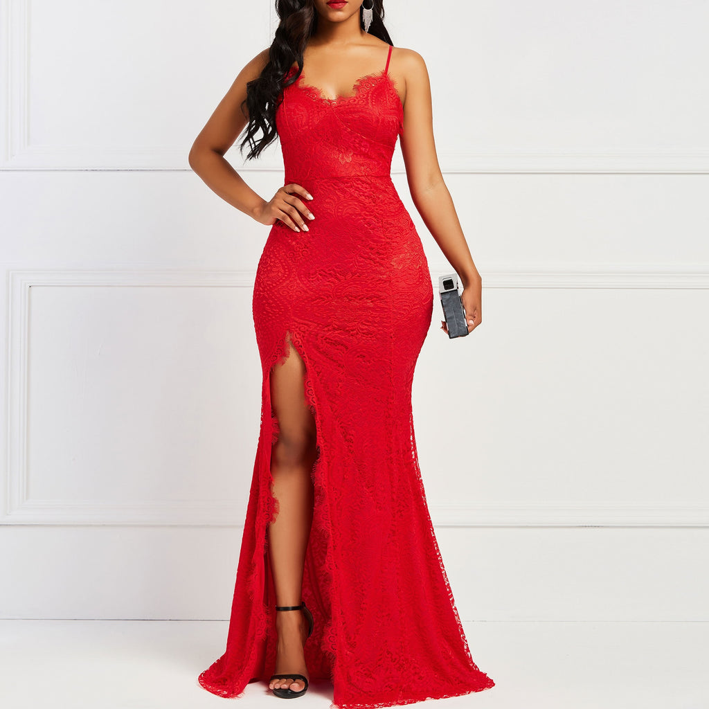 Asymmetric Sleeveless Bodycon Dress Side Vent Women Elegant Evening Party Red Sexy Dinner Lace Split maxi Dresses