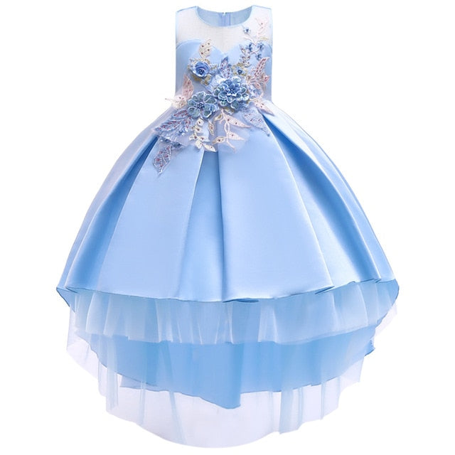 Cotton Lining Baby Girls Dress For Girls Wedding Party Dresses Kids Princess Summer Dress Children Girls Clothing Age 2-10 T-hipnfly-blue 1-3T-hipnfly