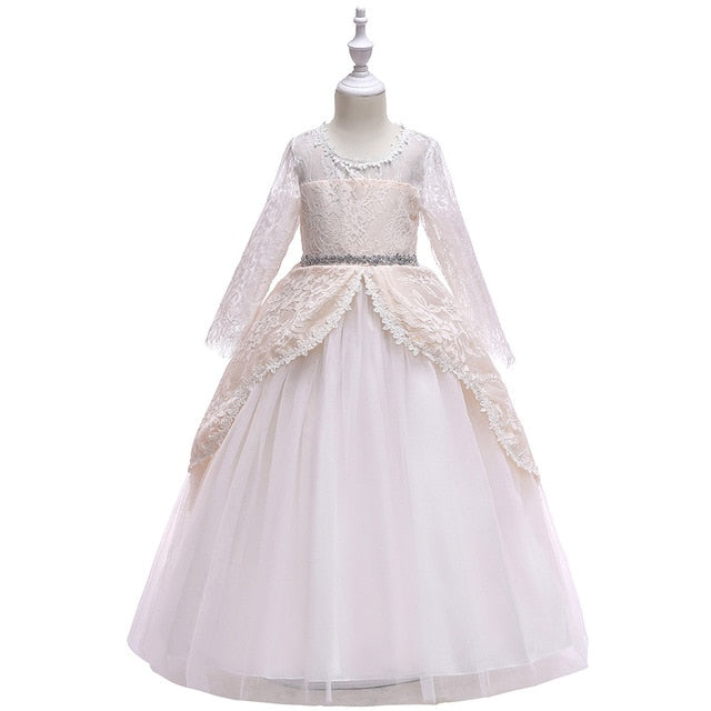 4-14Y Lace Teenagers Kids Girls Wedding Long Dress elegant Princess Party Pageant Christmas Formal Sleeveless Dress Clothes-hipnfly-as picture-4T-hipnfly