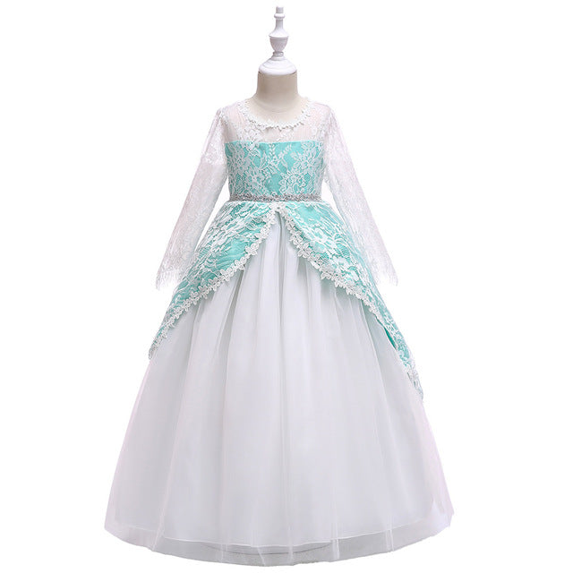 4-14Y Lace Teenagers Kids Girls Wedding Long Dress elegant Princess Party Pageant Christmas Formal Sleeveless Dress Clothes-hipnfly-hipnfly