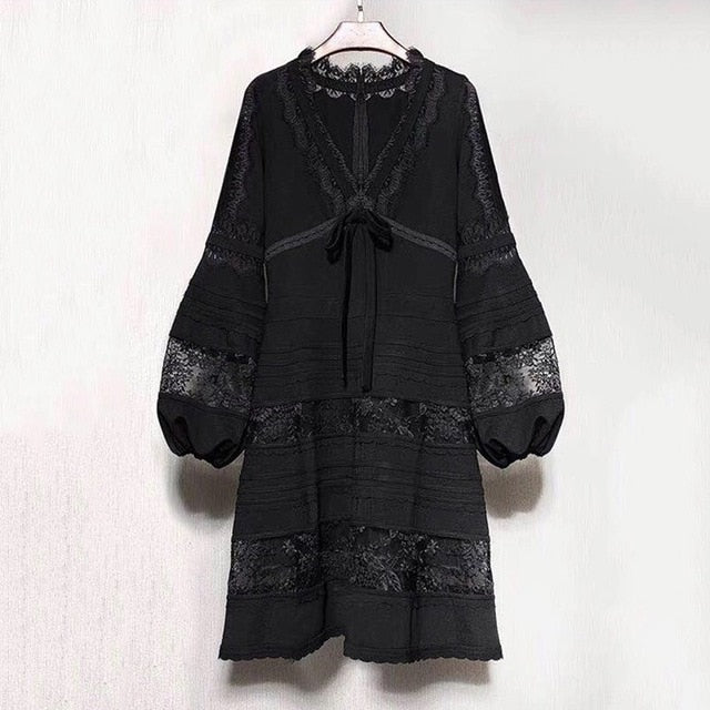 TWOTWINSTYLE Patchwork Lace Dress Women V Neck Lantern Long Sleeve Lace Up Women's Dresses Elegant Fashion 2018 Spring Autumn-hipnfly-black-L-hipnfly