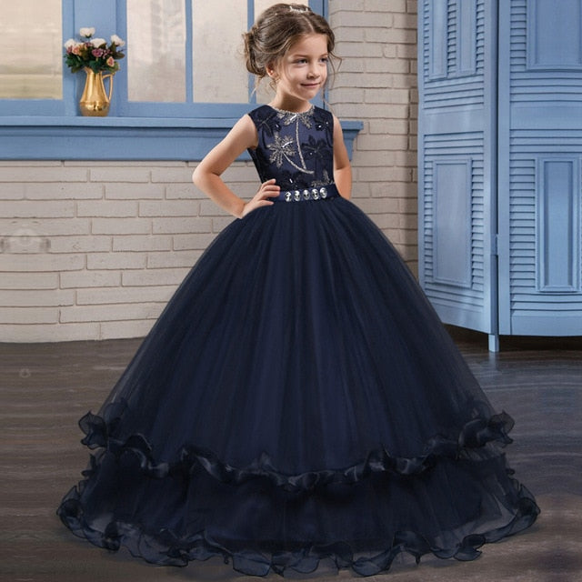 Kids Fancy Girl Flower Petals Dress Children Bridesmaid Outfits Elegant Dress for Girl Vestido Party Prom Gown Princess Costume-hipnfly-purplish blue-6-hipnfly